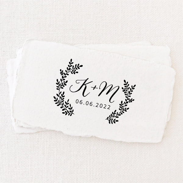 Sophia Rustic Botanical Calligraphy Script  Save The Date Rubber Stamp | Personalised Save the Date Wedding Couple Gift Rubber Stamp Event on Deckled Edge Packaging Tag | Heirloom Seals