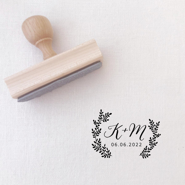 Sophia Rustic Botanical Calligraphy Script  Save The Date Rubber | Custom Rubber Stamp Wood for Luxe Packaging & Fine Art Wedding Invitation Stationery | Heirloom Seals