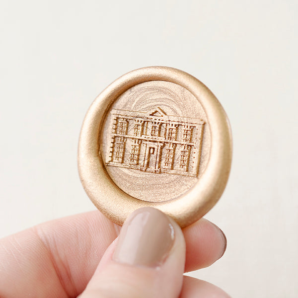Custom Venue Illustration Self-Adhesive Wax Seals | Gold Architecture Wax Seals for Fine Art Wedding Invitations | Heirloom Seals