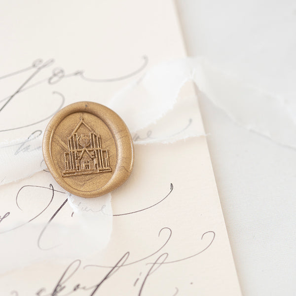 Custom Venue Illustration Self-Adhesive Wax Seals | Oval Gold Architecture Wax Seals for Fine Art Wedding Invitations | Heirloom Seals