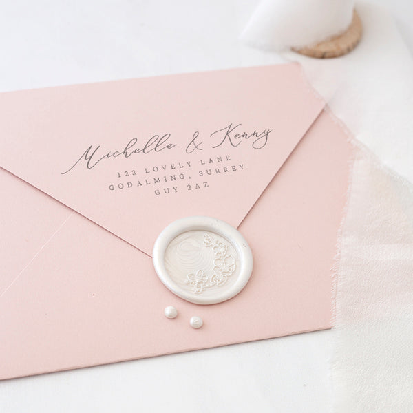 Pearl White Cherry Blossom Wax Seal for Spring Weddings | Heirloom Seals