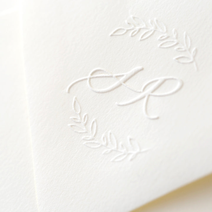 Calligraphy Wreath Monogram Embosser | Botanical Script Embossed Envelope | Heirloom Seals