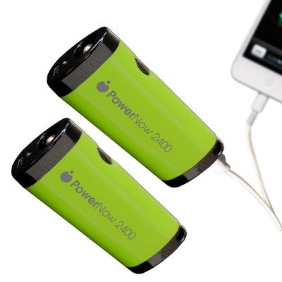 Pack of 2 Datexx Guaranteed Power Buddy -2400mAh Power Bank with Flashlight (Green)