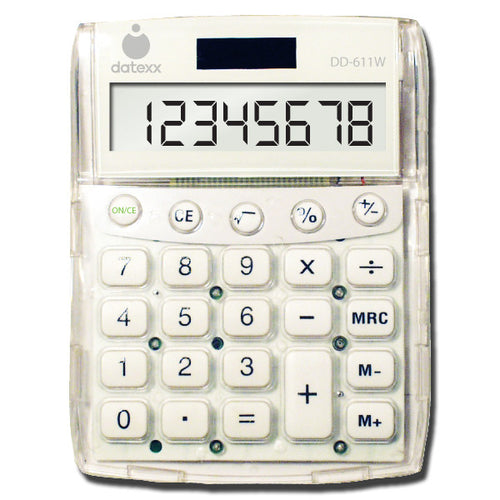 White Big Number Dual Power Desktop Calculator