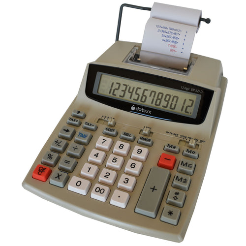 12-Dgt 2-Clr Business Printing Calculator with Calendar, Profit Manager /Tax