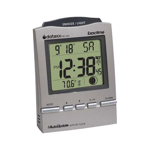 Radio Control Desk Alarm Clock with Month, Day, Date , Moon Phase-Pewter color