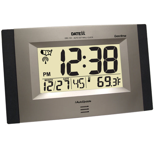 Radio Control Wall Clock with Month, Day, Date, and Temperature