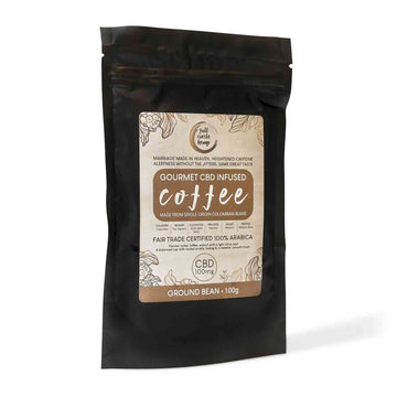 Gourmet CBD Infused Columbian Coffee with 100mg CBD in 100gram Packet - Fair Trade Ground Bean from Full Circle Hemp Ireland