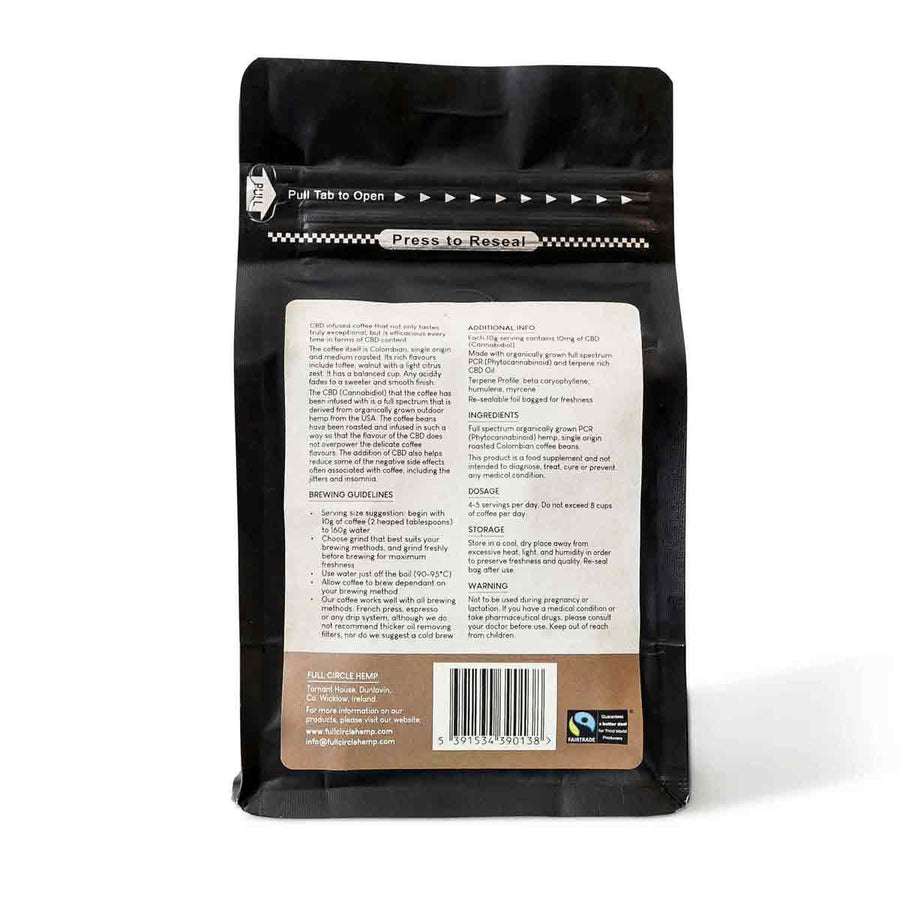 Gourmet CBD Infused Ground Columbian Coffee with 250mg CBD in a 250 gram Packet from Full Circle Hemp Ireland - Back View