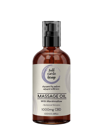 CBD Massage Oil with Marshmallow and 1000mg CBD in a 100ml Bottle. CBD Infused Botanical Skincare from Full Circle Hemp Ireland