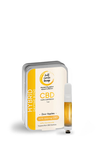 CBD Vape Ireland - Cartridge - Zour Apples - 1ml - 50% 500mg- Full Circle Hemp Ireland