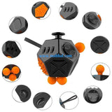 Fidget Cude –12 Side (Black & Orange)
