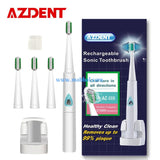 AZDENT Rechargeable Toothbrush +4pc Brush Heads