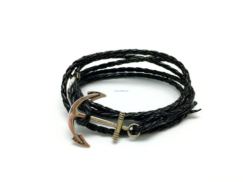 Anchor Leather Bracelet 4 layers