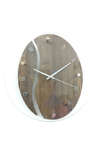 "Wood Vs. Glass Wall Clock ""JBN"""