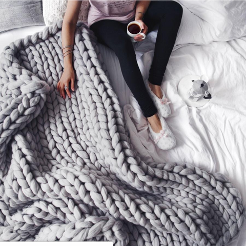 Knitted Blanket - 100% Handmade
