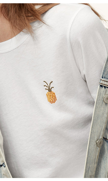 Pineapple  White Women printed T-shirt