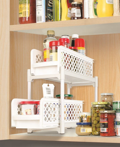 PORTABLE 2-TIER BASKET DRAWERS