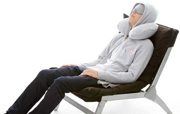 Travel pillow with hoodie