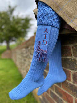 bluebell mid blue wool blend ladies shooting socks with personalised matching garters with your initials