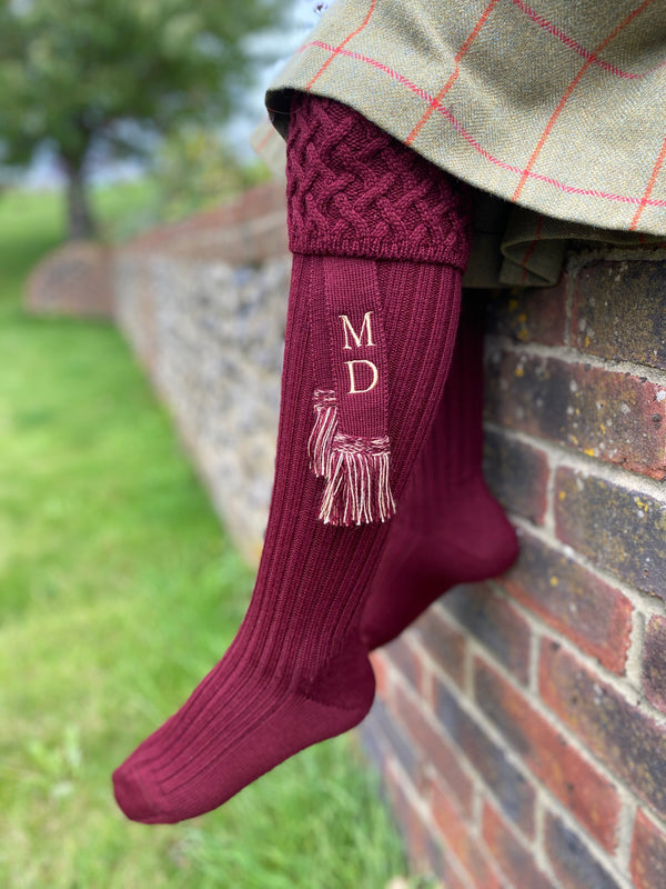 burgundy wool blend ladies shooting socks with personalised matching garters with your initials