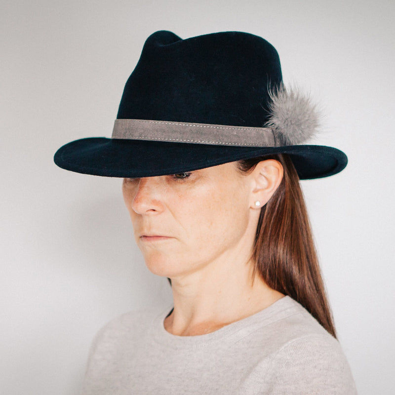 Navy Fedora (grey band)