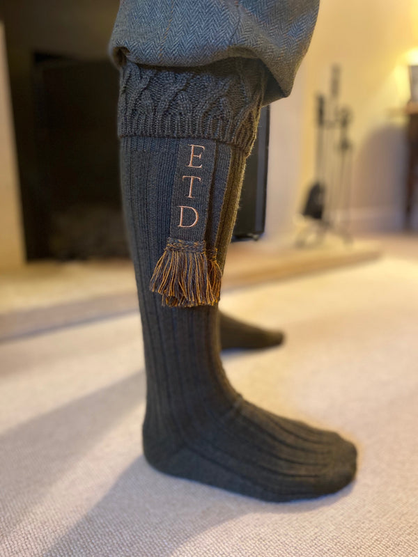 dark green wool blend mens shooting socks with personalised matching garters with your initials