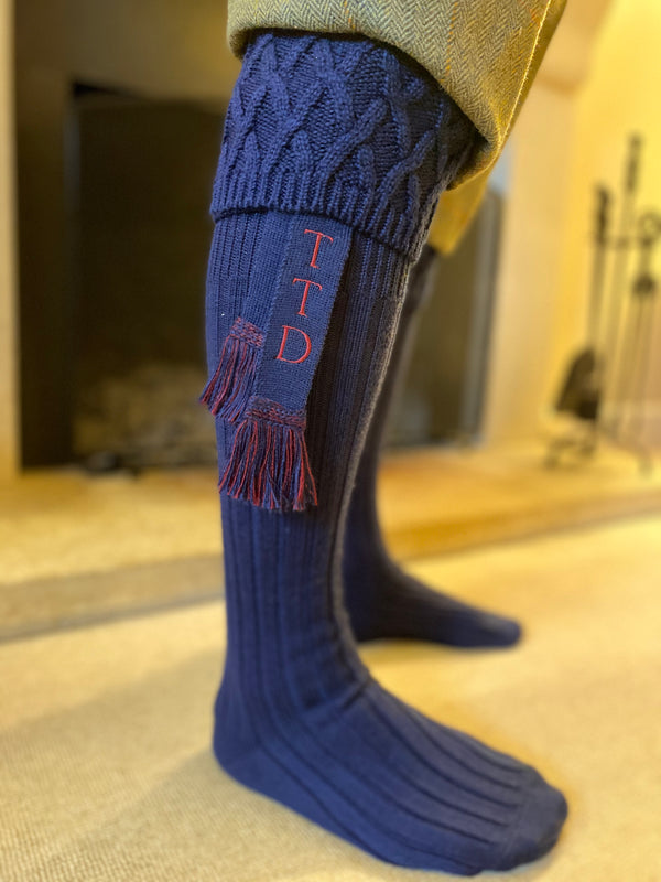 navy blue wool blend mens shooting socks with personalised matching garters with your initials