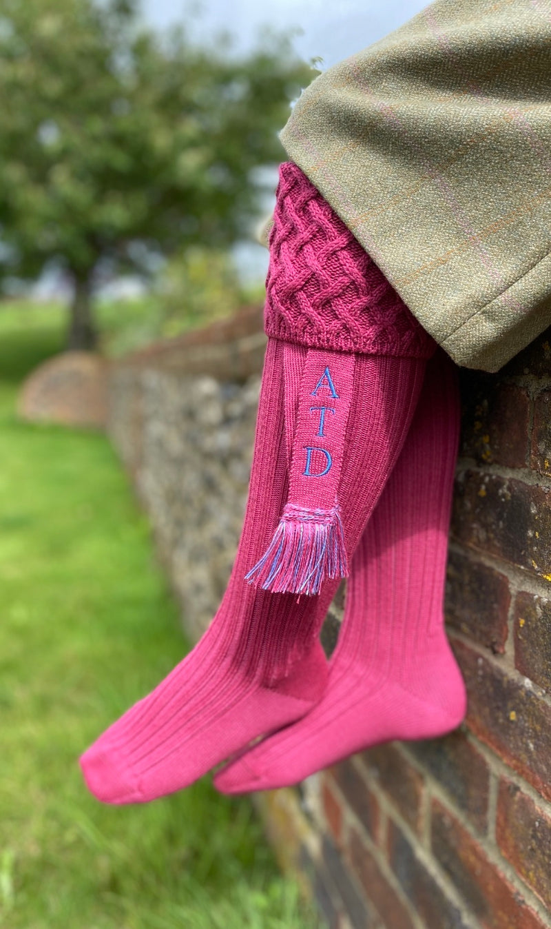 pink wool blend ladies shooting socks with personalised matching garters with your initials