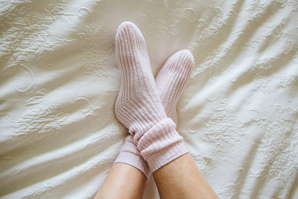 blush pink cashmere bed socks ribbed and soft 100% cashmere