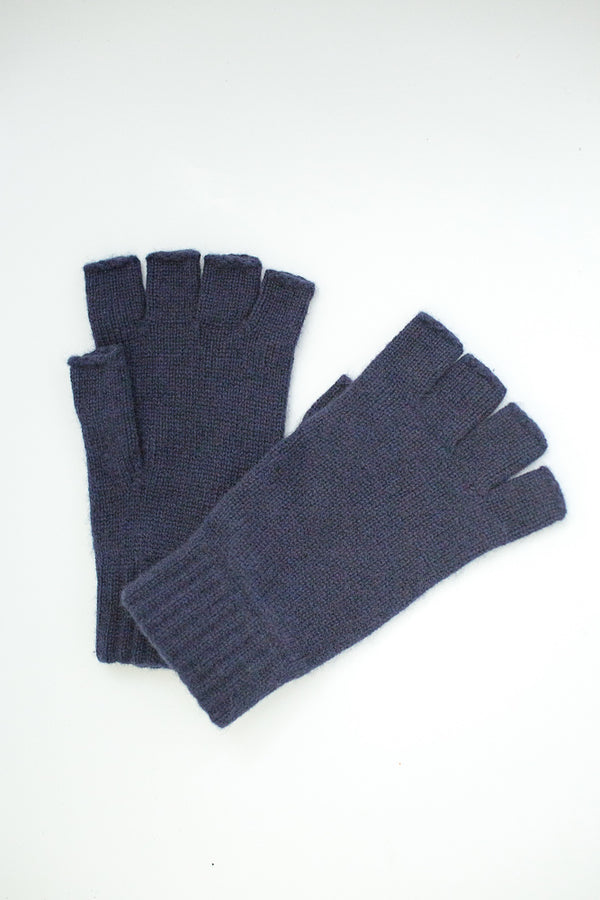 100% cashmere navy blue fingerless gloves
