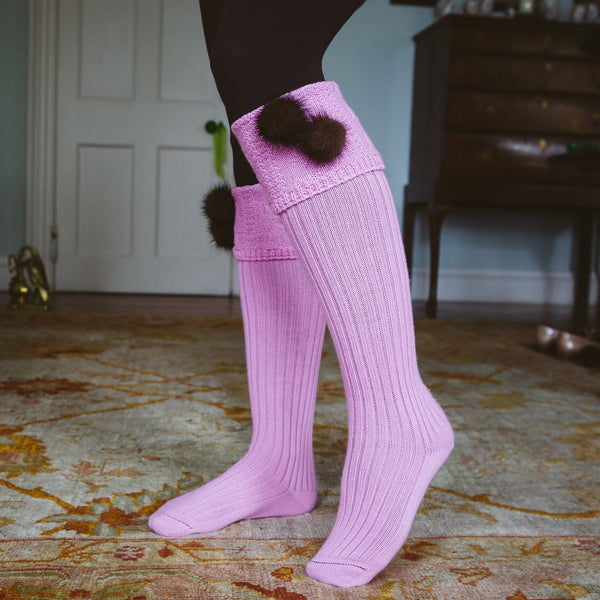 pink long knee high wool country socks