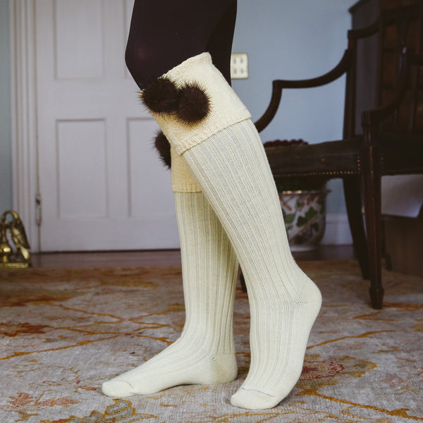 lemon yellow long knee high wool country socks