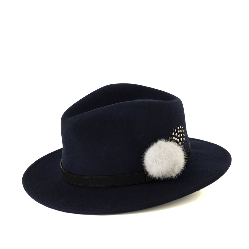 Navy Fedora (black band)