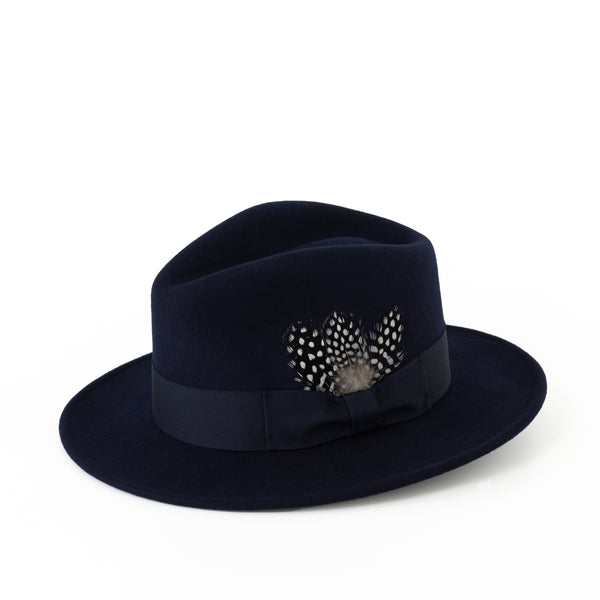 Navy Fedora (ribbon & guinea feathers)