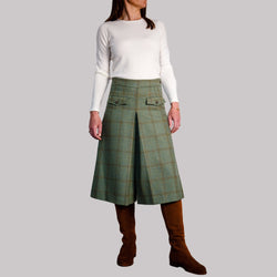 ladies wool tweed culottes in green herringbone with olive and orange check