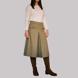 ladies wool tweed culottes in olive herringbone with pink and ochre check
