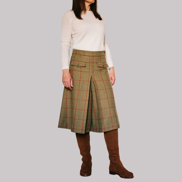 ladies wool tweed culottes in olive herringbone with red and orange check