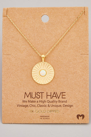 Layered Herringbone Disc Chain Necklace
