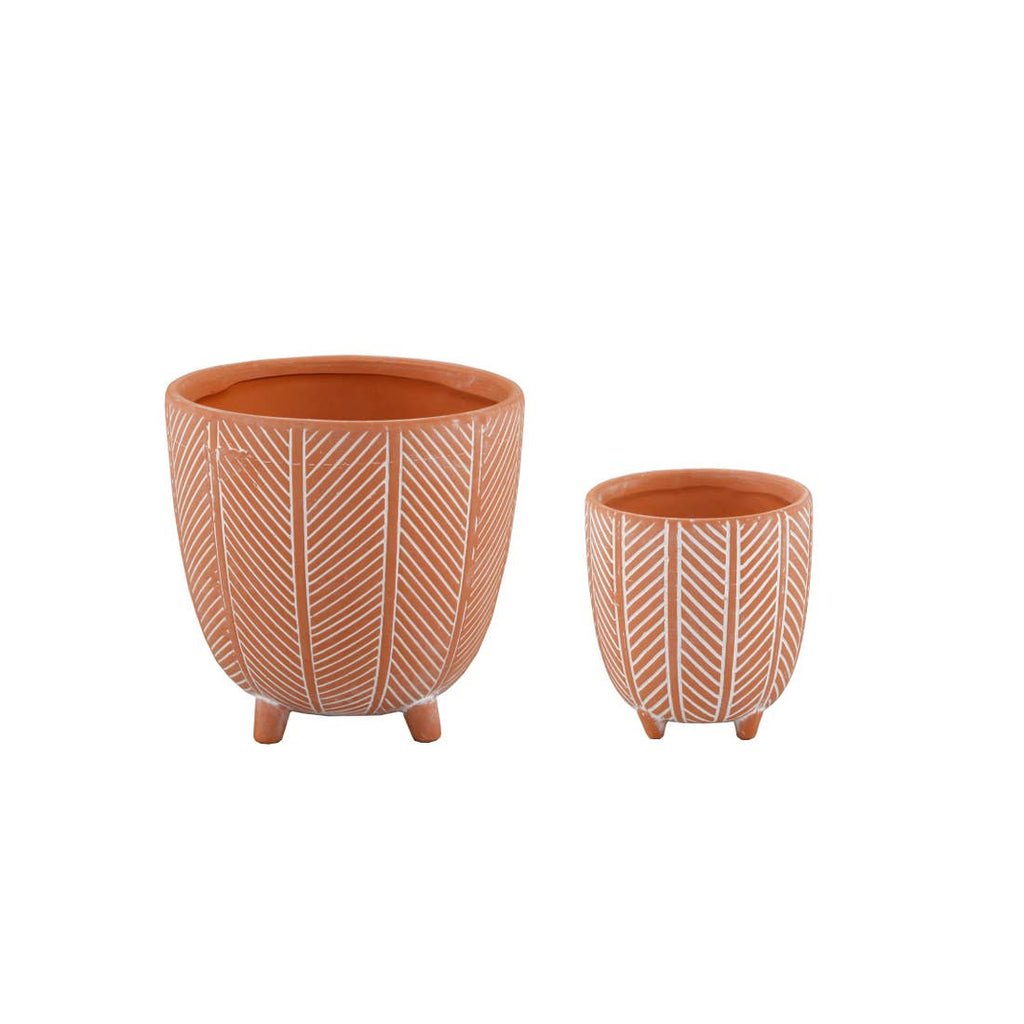"4"" Chevron Ceramic Footed Pot"