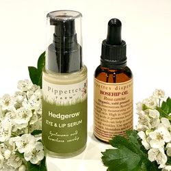 Hedgerow Eye & Lip Serum & Cold Pressed Organic Rosehip Oil Pairing by Pippettes