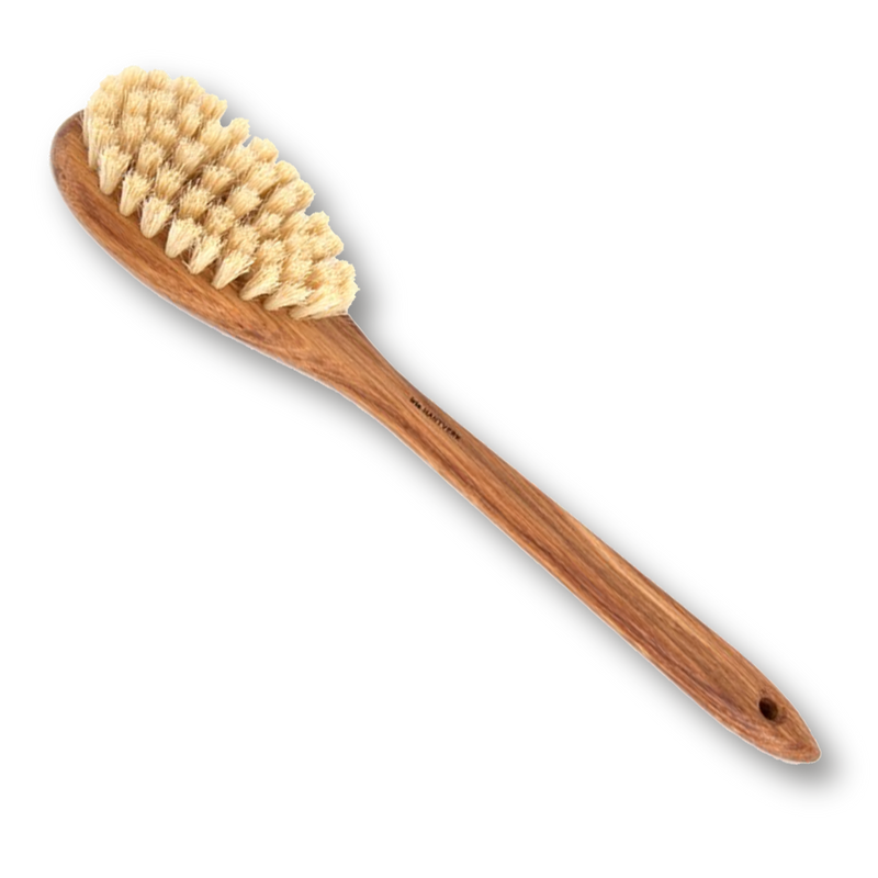 Dry / body brush with handle Oil treated oak, Horsehair