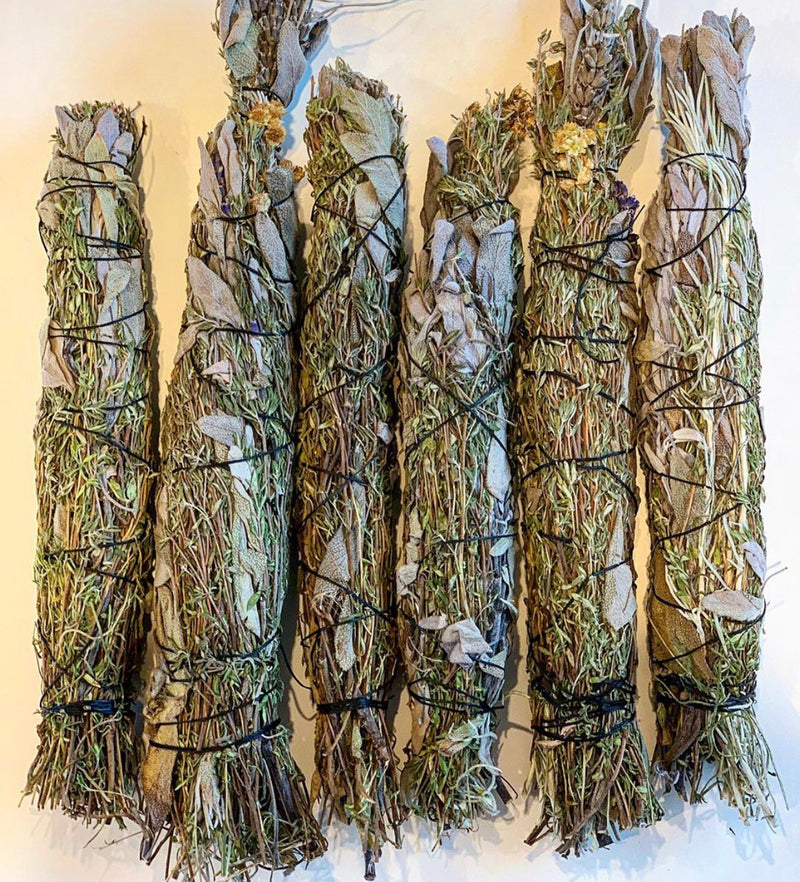 Thyme, Rosemary, Sage, Lavender and Yarrow smudge sticks