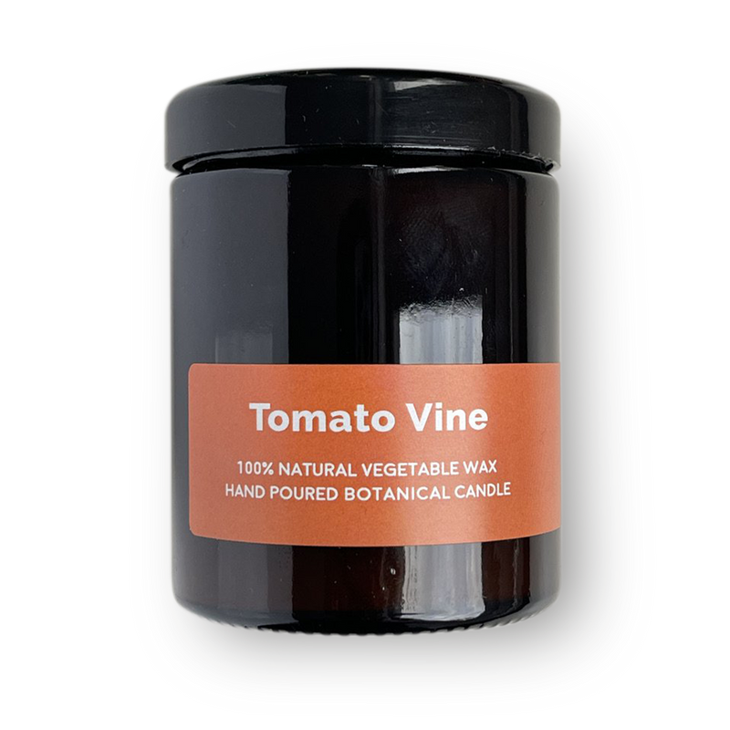 Tomato Vine - Pippettes 20 hour Soy Hand-poured Candles in Amber Glass Jar