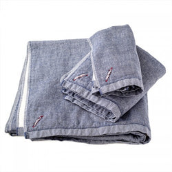 Chambray Towels-Navy