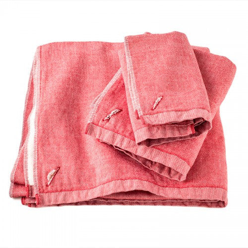 Chambray Towels-Red