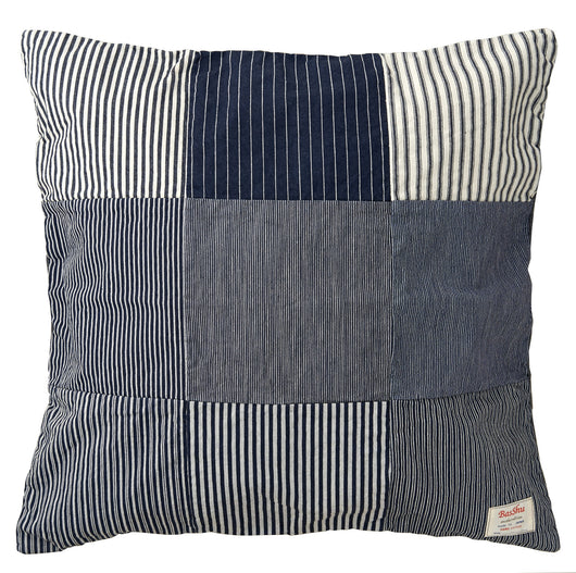 Denim Cushion Cover-Patchwork Navy