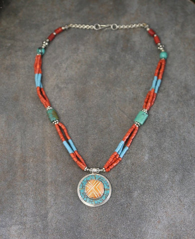 Turquoise and Coral Vintage Style Necklace