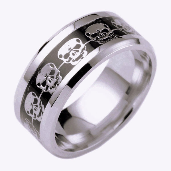 Men's Stainless Steel Skull Inlay Ring Black/Silver