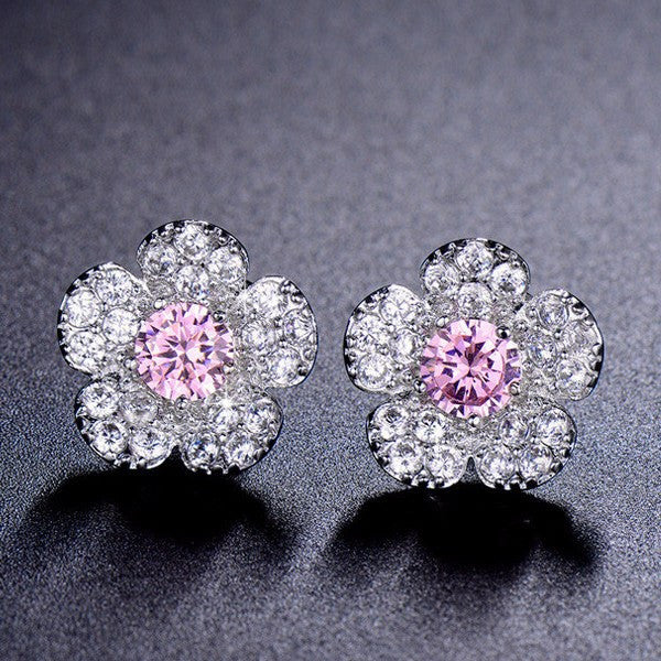 Flower Stud Earrings Purple/Pink /Crystal